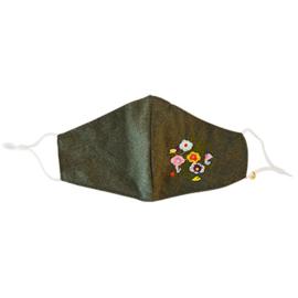 Mondkapje groen met bloemetjes