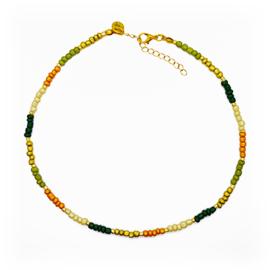 Ketting kralen groen okergeel beige en goudkleurig