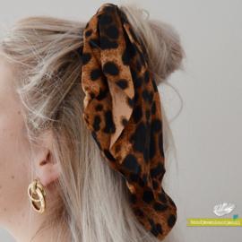 Scrunchie met lint - luipaard