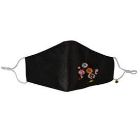 Mondkapje zwart met bloemetjes