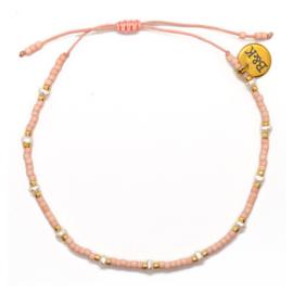 Armbandje Koord Mini Pareltjes - Roze