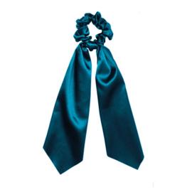 Scrunchie met lint - blauw
