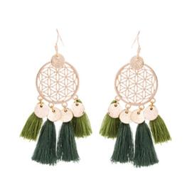 Boho Tassel Earrings - Green