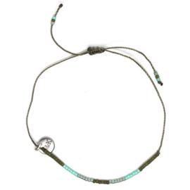 Armbandje Koord Mini Kraaltjes - Groen en Blauw