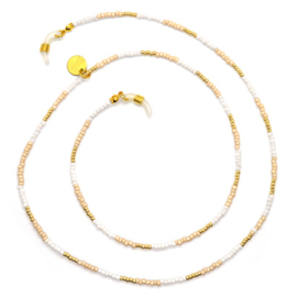 Sunglasses Cord Mini Beads - White, Beige & Gold