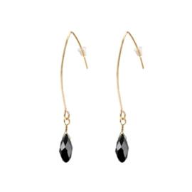 Raindrop Earrings Gold - Black