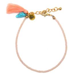 Anklet Bracelet Mini Beads & Tassel - Pink