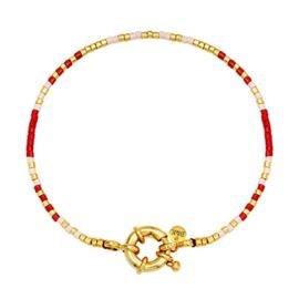 Armbandje met goudkleurig slotje, rood, roze en goudkleurige kraaltjes