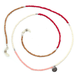 Sunglasses Cord Mini Beads - Red, White, Pink & Bronze