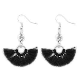 Mini Tassel Earrings Silver - Black