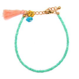 Anklet Bracelet Mini Beads & Tassel - Blue