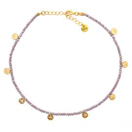 Ketting kraaltjes lila en muntjes goudkleurig