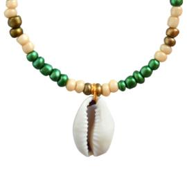 Armbandje kralen en schelp groen, goudkleurig en beige