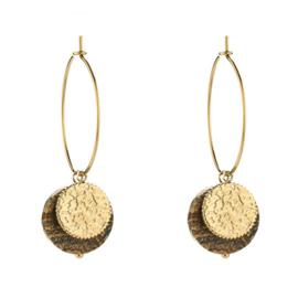 Oorbellen ringen muntje met bruin steentje