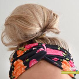 Twist Headband - Black & Flowers