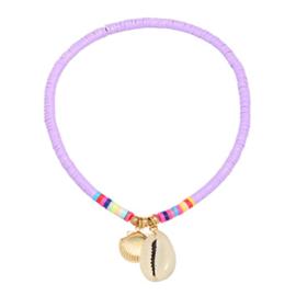 Enkelbandje - Lila en kleurrijke kraaltjes met schelpjes