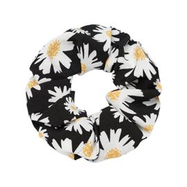 Scrunchie met bloemen zwart