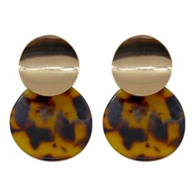 Oorbellen 2 rondjes - Luipaard & Goudkleurig