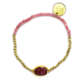 Crystal Beads & Stone - Gold & Red