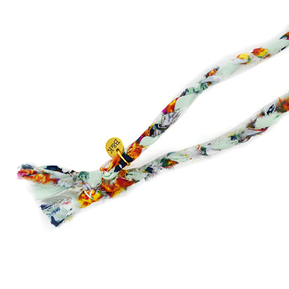 Bandana ketting bloemetjes blauw oranje geel