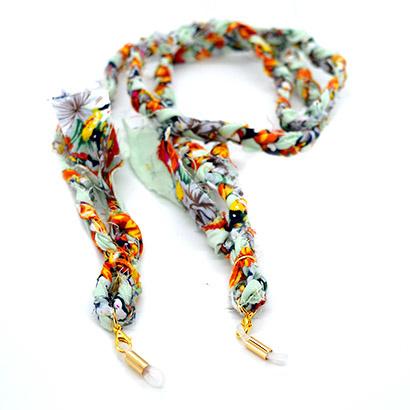 Zonnebrilkoordje/ Koordje voor mondkapje bandana bloemetjes blauw oranje geel