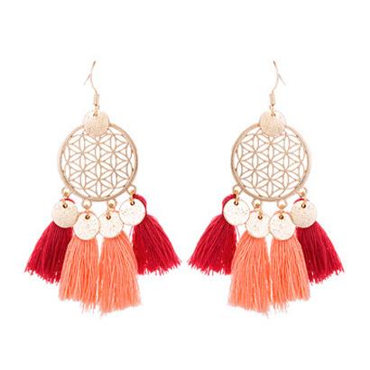 Boho Tassel Earrings - Red