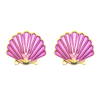 Studs schelp - paars/roze met goud
