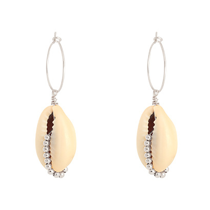Hoops Shell Beads - Silver