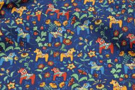 Stof met Zweedse paardjes blauw