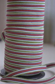 Groen-rood-wit gestreept band,   prijs per meter