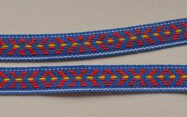 Blauw-rood-geel folkloreband.    Prijs per meter