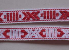 Folkloreband rood-wit.   Prijs per meter
