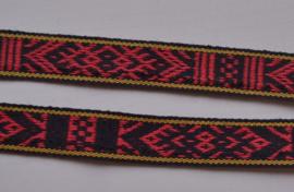 Folklore band zwart rood geel.   Prijs per meter
