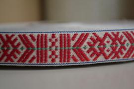 Traditioneel folkloreband in grijs en rood.   Prijs per meter