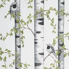 Berkenstof met vogels, halve meter