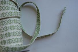 Wit - groen hartje.  Prijs per meter