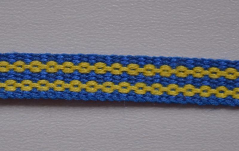 Zweeds band, blauw-geel,   prijs per meter