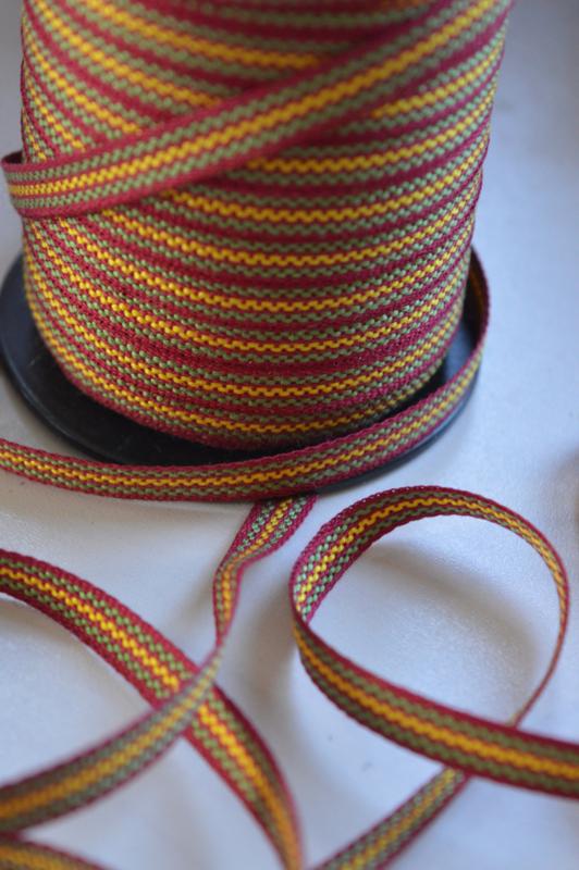 Violet-geel-groen gestreept band,   prijs per meter