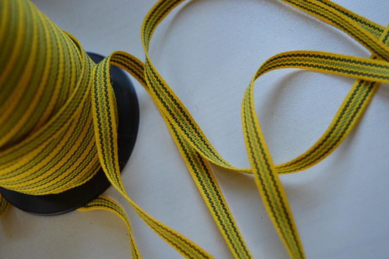 Geel-groen gestreept band,   prijs per meter
