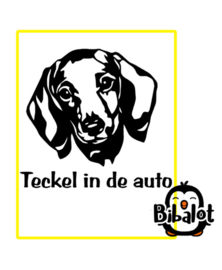 Teckel in de auto| Auto Stickers
