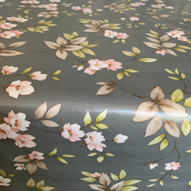 Tafelzeil - Bloemenprint grijs