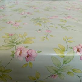 Tafelzeil - Bloemenprint mintgroen