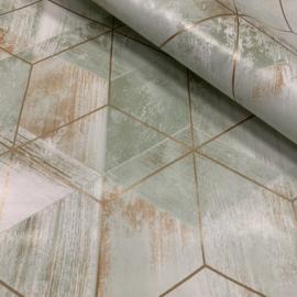 Tafelzeil - Geometrische marmer look groen/brons