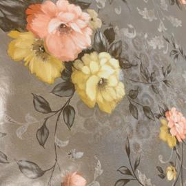 Tafelzeil - Flower taupe/grijs
