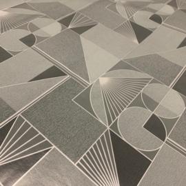 Tafelzeil - Geo grijs/zilver