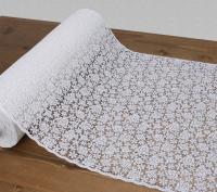 Tafelloper kant - roosje (wit)