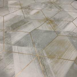 Tafelzeil - Geometrische marmer look grijs/goud