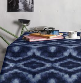 Gecoat tafellinnen/tafelkleed - Saura denim blauw