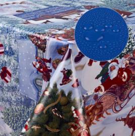 Tafelzeil kerst - kerstman sneeuw dorp blauw