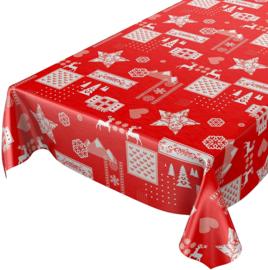Tafelzeil kerst - Patchwork red